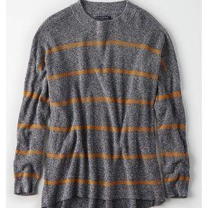 American Eagle Grey Striped Sweater